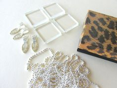 4 DIY Necklace Pendant Kit 35mm Square Glass by theglassconnection, $11.00