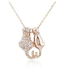Cute Cat Couple Pendant Necklace