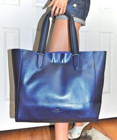 d206241fd4 COACH Large Leather Derby Metallic Navy Blue Tote Bag Purse 59388 NWT Coach  Handbags, Coach