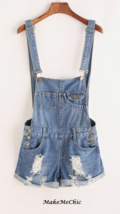 f23f91ffe199 Distressed Rolled Hem Overall Denim Shorts Denim Overall Shorts