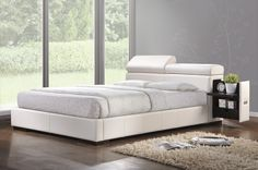 """Manjot collection white leather like vinyl padded headboard footboard and rails queen size platform bed set. This set includes the Queen headboard with slide out nightstands and adjustable headrests , footboard and rails. Headboard measures 32"""" H to the top. Some assembly required. SKU ACM20420Q"""
