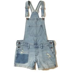Hollister Denim Short Overalls (65 AUD) ❤ liked on Polyvore featuring jumpsuits, rompers, ripped medium wash, denim shorts overalls, shorts overalls, denim rompers, bib overalls and distressed overalls