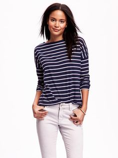 Striped Boat-Neck Tee for Women Product Image