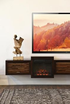 Floating Fireplace Wall Mount TV Stand - ECO GEO Espresso - Woodwaves Floating Fireplace, Fireplace Wall, Fireplace Design, Fireplace Ideas, Wall Mount Tv Stand, Tv Stand With Mount, Floating Tv Stand, Floating Wall, Wall Mounted Tv Console
