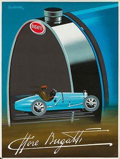 """Bugatti Automobile Car Art Deco Race"" vintage poster by Pierre Fix Masseau (original first printing 1989, size 59.7 x 80cm)"