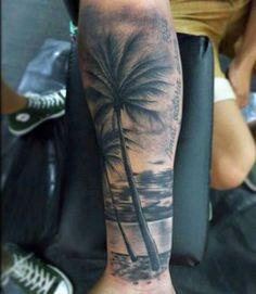 Write Beach Tattoo For Men With Palm Trees tatuajes Forarm Tattoos, Map Tattoos, Life Tattoos, Body Art Tattoos, Beach Tattoos, Manga Tatoo, Tree Sleeve Tattoo, Tattoo Tree, Unique Half Sleeve Tattoos