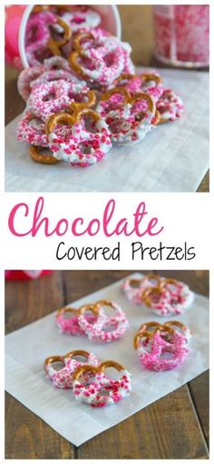 Chocolate Covered Pretzels – super easy and fun treat for any occasion. Pretzels dipping in white chocolate and coated in sprinkles. perfect for Valentines Day! Yummy Treats, Delicious Desserts, Sweet Treats, Valentines Day Treats, Holiday Treats, Valentine Cupcakes, Heart Cupcakes, Kids Valentines, Pink Cupcakes