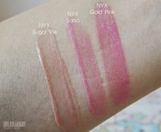 ♥ imladiiekay | Beauty and Lifestyle Blog: NYX Mega Shine Lip Gloss ♥ Sugar Pie, Salsa & Gold Pink Swatches + Mini Reviews #nyx #lipgloss #pink #glitter