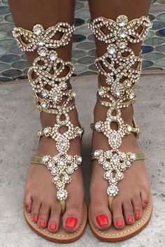 Oh My Goodness Gladiator Gold w/ Clear Stones By Mystique