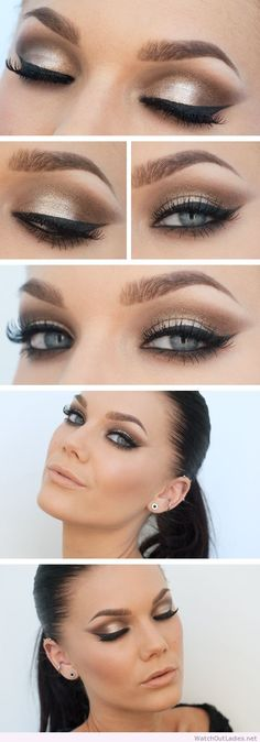 Linda Hallberg gold and black eye makeup