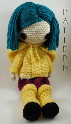 ATTENTION - Keep in mind that this is a crochet pattern in a PDF. This is NOT the finished product. From the movie Coraline directed by Henry Selick. Coraline is approximately 17 inches tall. Also, please keep in mind that this doll cannot stand up on its own. This is a