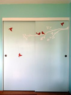 redo of old sliding closet doors with birds Decor, Fun Decor, Home Office Furniture, Bedroom Makeover, Painted Doors, Closet Doors Painted, Painted Closet, Bedroom Decor, Remodel Bedroom