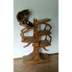 """EnchantedHomeDesigns Handmade Inspired Cat Tree Size: 48"""" H x 30"""" W x 12"""" D, Color: Espresso"""