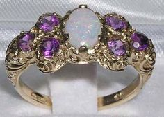 Genuine Opal & Amethyst Solid 9K Yellow Gold Victorian Style Unique Engagement Ring -Made in England- Customize:14K,18K,Yellow,Rose,White by GemsofLondon on Etsy https://www.etsy.com/listing/222232428/genuine-opal-amethyst-solid-9k-yellow