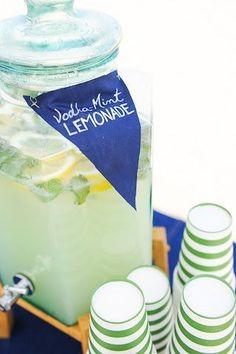 Vodka Mint Lemonade. Nautical Cocktail Ideas for an adult birthday party.