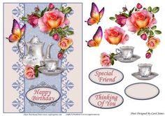 Card Front Time For Tea on Craftsuprint designed by Carol James - A cardfront with some decoupage pieces for that 3d effect. Can be used for lots of different occasions like Birthdays, Mother's Day, Best Wishes, Anniversaries, Thinking of You, Thanks, etc. 3 sentiment tags and one blank tag are included. Sentiments read:Happy BirthdaySpecial FriendThinking Of You - Now available for download!