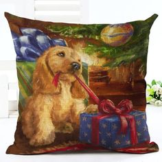 Puppy Christmas Cushion Cover. 30% proceeds from every purchase goes to animal charities.