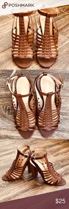 Express Brown Leather Sandals Look Brand New!!! Express brown leather high heel sandals! Has an adjustable ankle strap and wooden heel. Very comfortable and super cute with jeans or sundress! Express Shoes Sandals