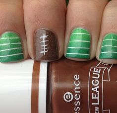 Football nails - of course I would have to use blue! ;-)
