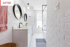 5 Popular Bath Tiles and How Much They Cost Bath Tiles, Bathroom Floor Tiles, White Bathroom, Bathroom Interior, Small Bathroom, Bathroom Ideas, Bathroom Renovations, Home Renovation, Beveled Subway Tile