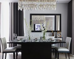 25 Elegant and Exquisite Gray Dining Room Ideas dining room decorating ideas grey - Dining Room Decor Dining Room Wall Decor, Dining Room Bar, Oak Dining Table, Dining Room Design, Room Decor, Dining Rooms, Dining Chairs, Contemporary Dining Room Furniture, Contemporary Living