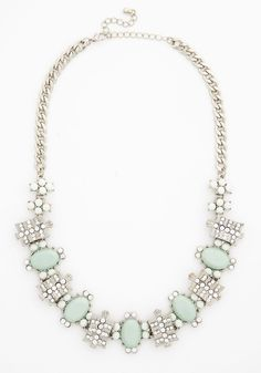Astonishingly Stunning Necklace - Solid, Rhinestones, Special Occasion, Cocktail, Holiday Party, Statement, Darling, Silver, Wedding, Bridesmaid, Bride, Mint, Pastel