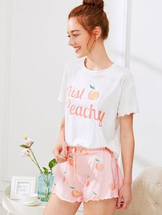 Fruit Print Lettuce Edge Tee And Shorts PJ Set -SheIn(Sheinside) Cute  Sleepwear b0caf710f