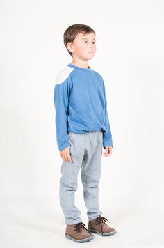 Go Gently Baby Boys Shoulder Panel Tee - Winter Blue #organiccotton #henryandlola