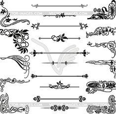 Jugendstil-Ornamente und Ecken - Vektorgrafik-Design