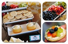 Fruit pizza bar- great idea for summer parties. Also more ideas for a boy baby shower on this blog