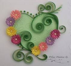 Quilled heart with fringe flowers