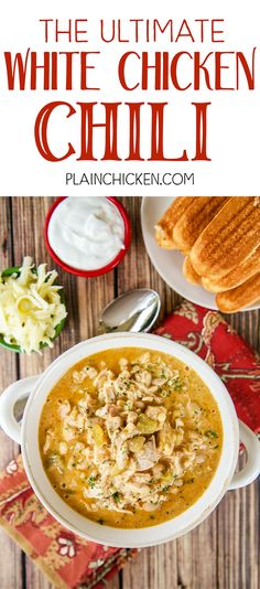 The Ultimate White Chicken Chili the BEST of the BEST White Chicken Chilis SO good and ready to eat in under 20 minutes Rotisserie chicken white beans corn green chilies. Crockpot Recipes, Soup Recipes, Chicken Recipes, Dinner Recipes, Cooking Recipes, Healthy Recipes, Cooking Chili, Cooking Turkey, Rotisserie Chicken Chili Recipe