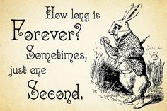 Alice in Wonderland Quote – How Long is Forever – White Rabbit Quote – 0125 • Buy this artwork on apparel, phone cases, home decor, and more.