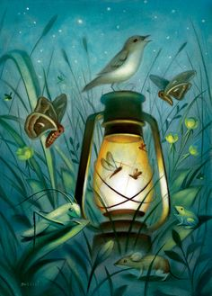 intriguing painting. Nature at nighttime. Artist unknown