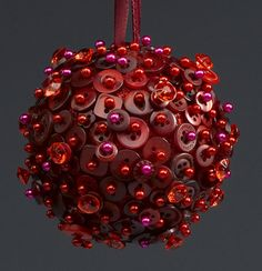 Red Christmas Button Ornament