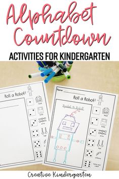 Doing an Alphabet Countdown was my favourite way to end the school year. Find out how I easily planned 26 days of fun in my kindergarten classroom. Playdough Activities, Math Activities For Kids, Alphabet Activities, Kindergarten Worksheets, Kindergarten Names, Kindergarten Classroom, Phonics Flashcards, Alphabet Book, Last Day Of School
