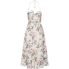 Zimmermann Jasper printed cotton-voile halterneck dress (€510) ❤ liked on Polyvore featuring dresses, dresses/gowns, pastel pink, cut out dresses, floral dresses, white halter top dress, strapless floral dress and flower print dress