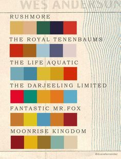 Wes Anderson Color Palette. Very mid-century modern. Repinned by Newfangled Landscape Design, Perth.