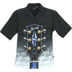 gibson shirts   Dragonfly Clothing Company Gibson Headstock Shirt Black, Front