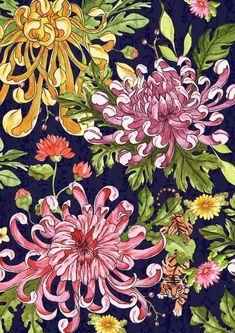 chrysanthemum Art Print by Laura Caballero - X-Small Chrysanthemum Drawing, Japanese Chrysanthemum, Chrysanthemum Flower, Japanese Flowers, Japanese Tattoo Art, Japanese Art, Art Floral, Oriental Flowers, Art Aquarelle