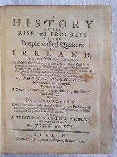 Dublin 1751 History of the Rise and Progress of Quakers in Ireland First Edition