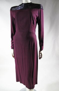 1940's Beaded Claret Red Crepe Cocktail Dress from marzillivintage on Ruby Lane