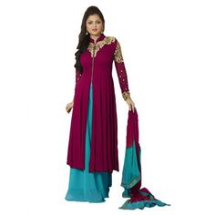 Fancy Designer Wine Colour Party Wear Anarkali Suit-RDHP162-02 ( RD-9032 )
