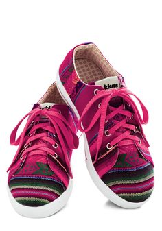 Bright Attitude Sneaker. The pick-me-up you get from these lo-top sneakers from Inkkas is infectious - with a glimpse of you beaming in these hot-pink tennies, frowning folks get right back to grinning! #pink #modcloth