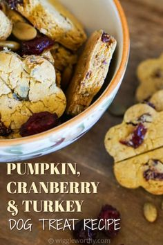 These yummy pumpkin cranberry and turkey dog treats are full of naturally nutritious ingredients. Fall favorites in our house! Pumpkin Dog Treats, Diy Dog Treats, Homemade Dog Treats, Dog Treat Recipes, Healthy Dog Treats, Dog Food Recipes, Cookie Recipes, Grain Free Dog Food, Dog Bakery