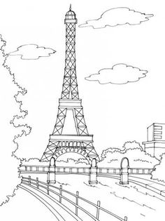painting outline for mural paris eiffel tower - Paris Coloring Book