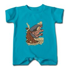 Monster Turquoise Cute T-romper For Baby Personalized-Funny Clothing with 98% happy customers! Create custom shirts and personalized goods at HICustom,Use our online designer to add your design, logos, or text. easily!