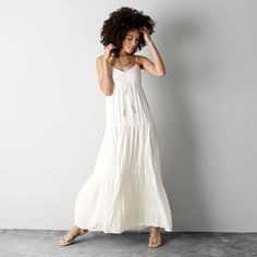 American Eagle Crochet Tiered Maxi Dress.