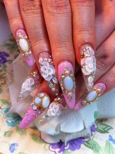 3d nail art - love these princess nails