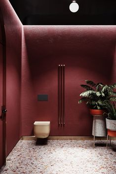 Bathroom design mitte // cgi visualization by Vladyslava Torhonska. This rendering was done by Max, Corona Renderer, Photoshop & Lightroom. Restroom Design, Bathroom Interior Design, Home Interior, Luxury Interior, Contemporary Interior, Bathroom Red, Bathroom Toilets, Red Bathrooms, 3d Max Vray